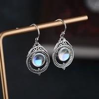 vintage turquoise drop earrings genunie 925 silver jewelry earrings for women anniversary gift wholesale fine jewelry