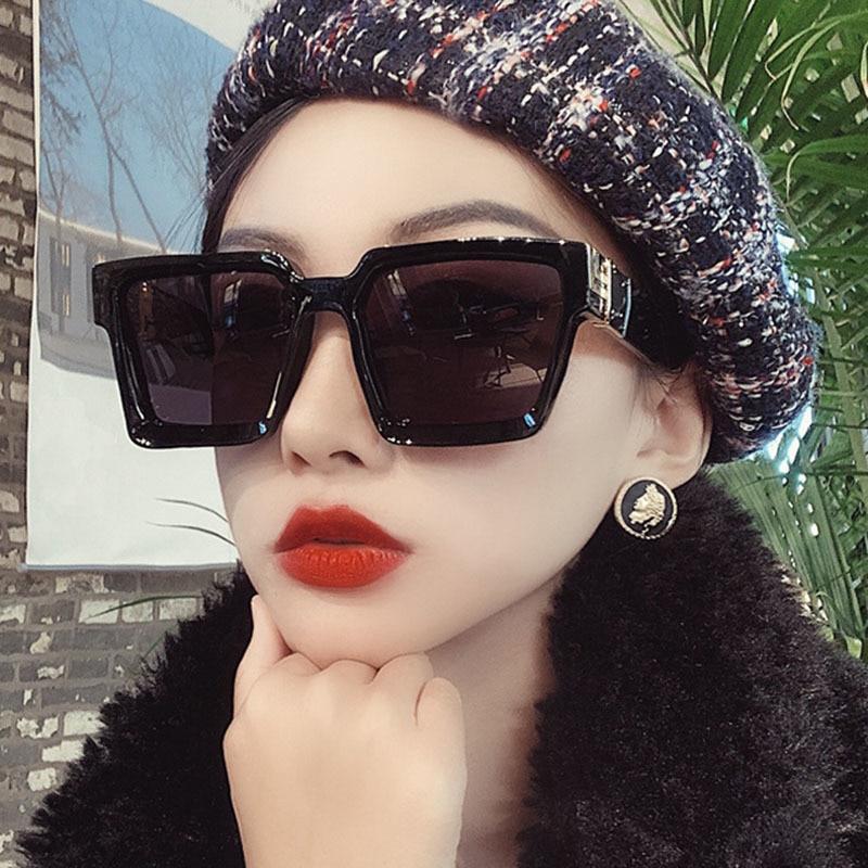 Flat Top Oversize Square Sunglasses Women Fashion Brand Retro Gradient Sun Glasses Leopard Big Frame