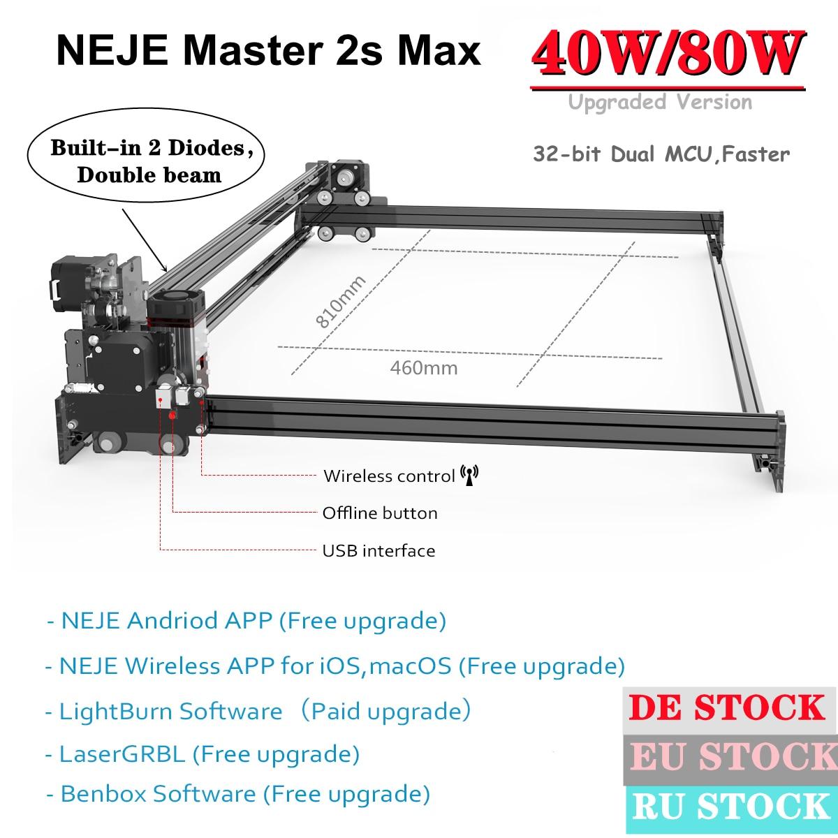 NEJE Master 2S Max 80W/40W Professional CNC Laser Engraver Wood Cutter Router Printer Lightburn LaserGRBL App Control-Bluetooth