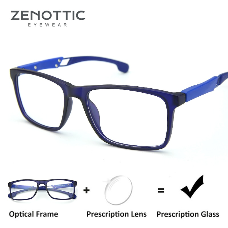 ZENOTTIC Blue Sport Prescription Glasses For Men Anti-Blue-Ray Myopia Eyeglasses Optical Hyperopia P