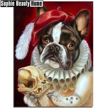 جديد البيع 5D الماس عبر غرزة الحيوان الكلب في قبعة لتقوم بها بنفسك كامل الماس اللوحة الماس التطريز التطريز الفسيفساء هدية 19A027