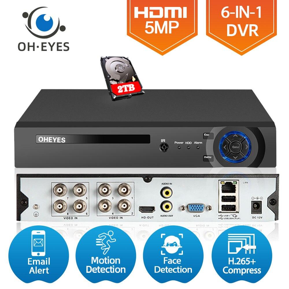 AHD فيديو تسجيل الصوت الوجه CCTV 8CH مسجل H.265 5MP 4MP 1080P 6 في 1 الهجين DVR XVi TVi CVI IP NVR ل CCTV AHD & IP كاميرا