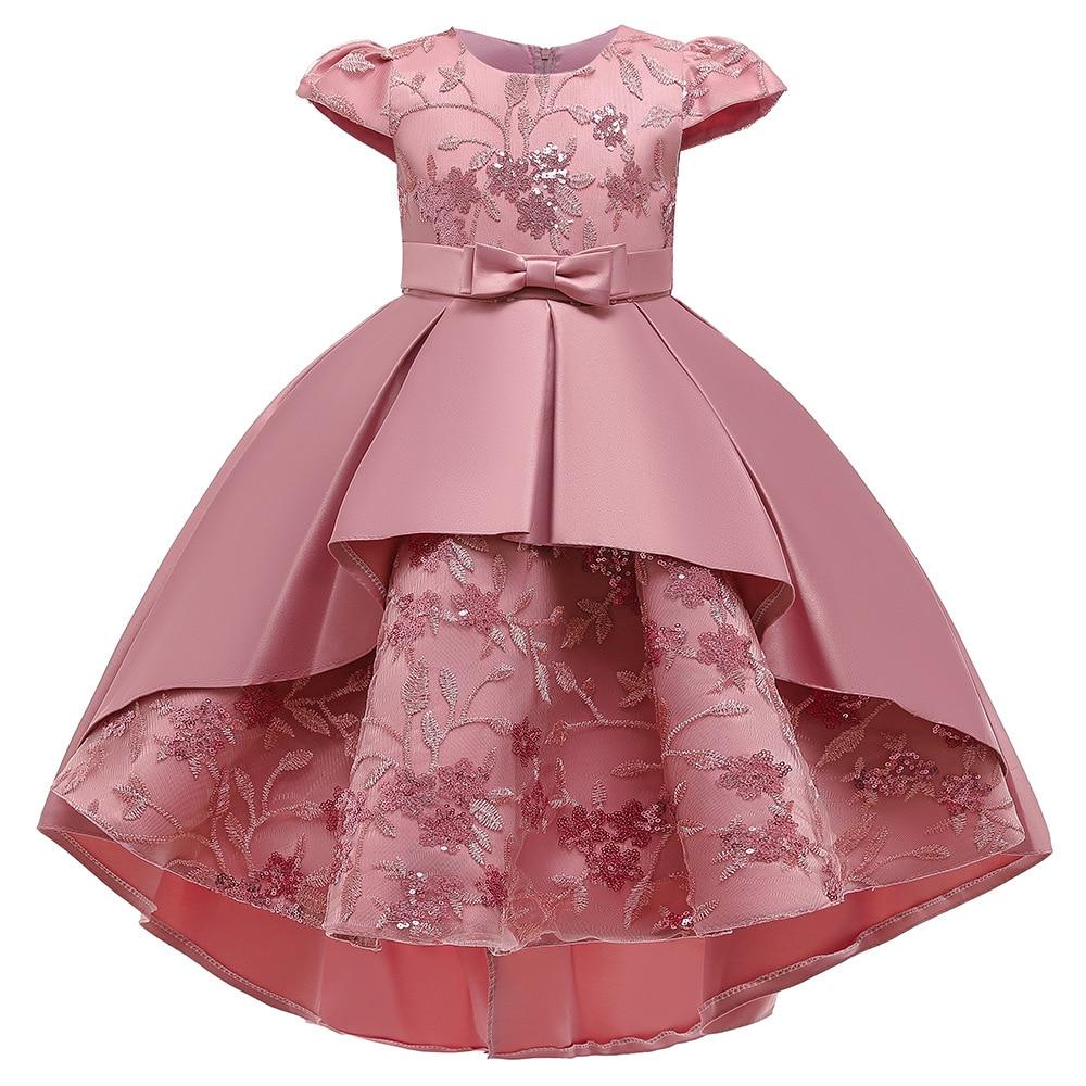 LZH الاطفال فستان حفلة للفتيات 2021 جديد فستان مطرز قصيرة الأكمام Bowknot فستان الأميرة فتاة فساتين سهرة عيد ميلاد
