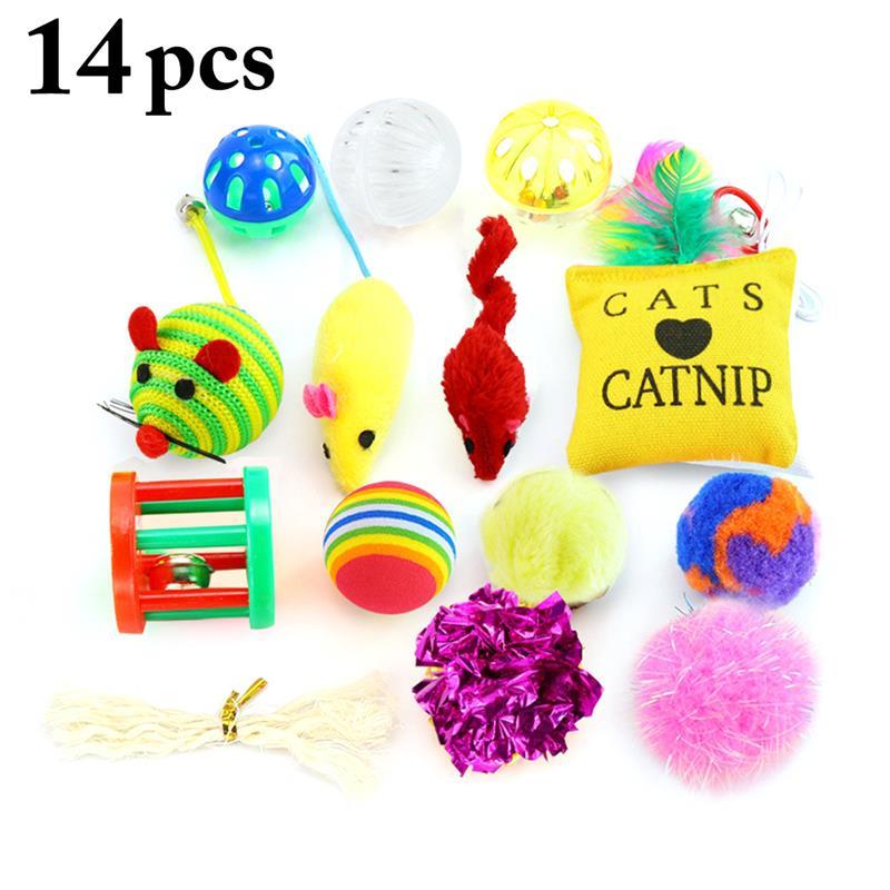 14 unids/set diferentes tipos de gato juguetes interactivo juguete de ingenio para gatos gato bola Catnip juguete para mascotas