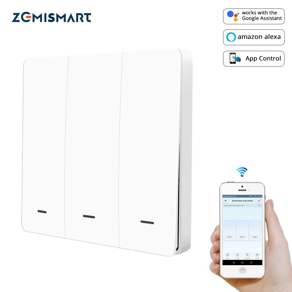 Zemismart – Interrupteur mural avec bouton poussoir physique, Tuya/Zigbee, pour luminaire, sans fil neutre, pour Alexa et Google Home