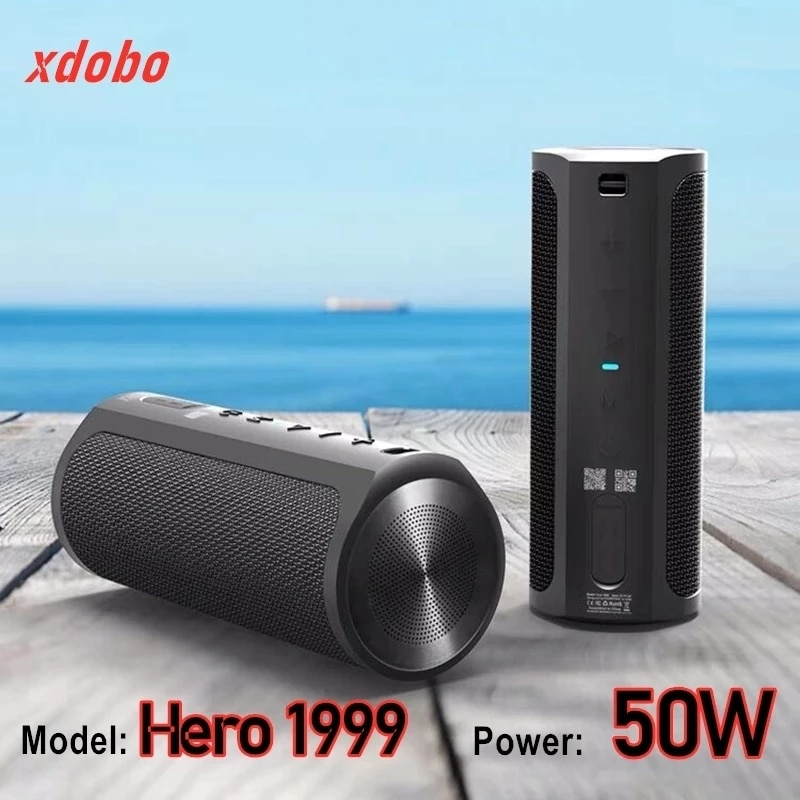 Xdobo hero1999 50 واط عالية الطاقة المحمولة Caixa دي سوم سمّاعات بلوتوث TWS في الهواء الطلق مضخم صوت مقاوم للماء ستيريو Boombox باور بانك