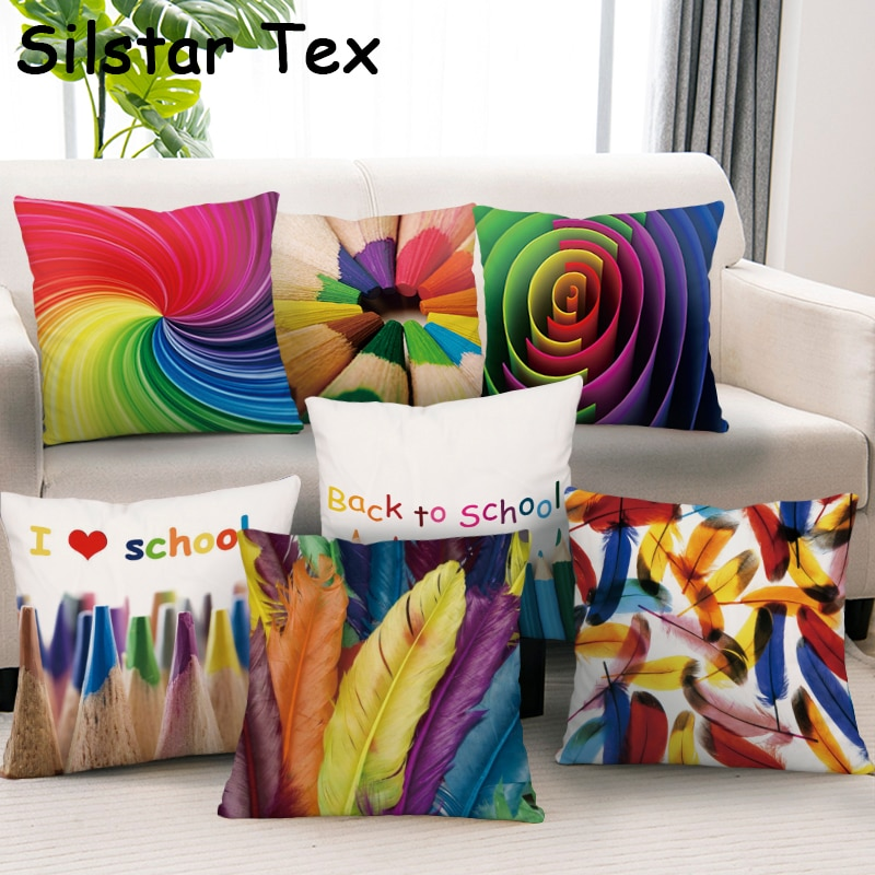 Funda de almohada Silstar Tex con pincel de colores, funda de cojín decorativa con acuarela para cintura para sofá, café, coche, silla, escuela