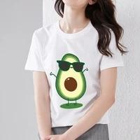 t shirt womens classic casual small fresh wild cartoon avocado butt pattern printing o neck t shirt sweet style slim white top