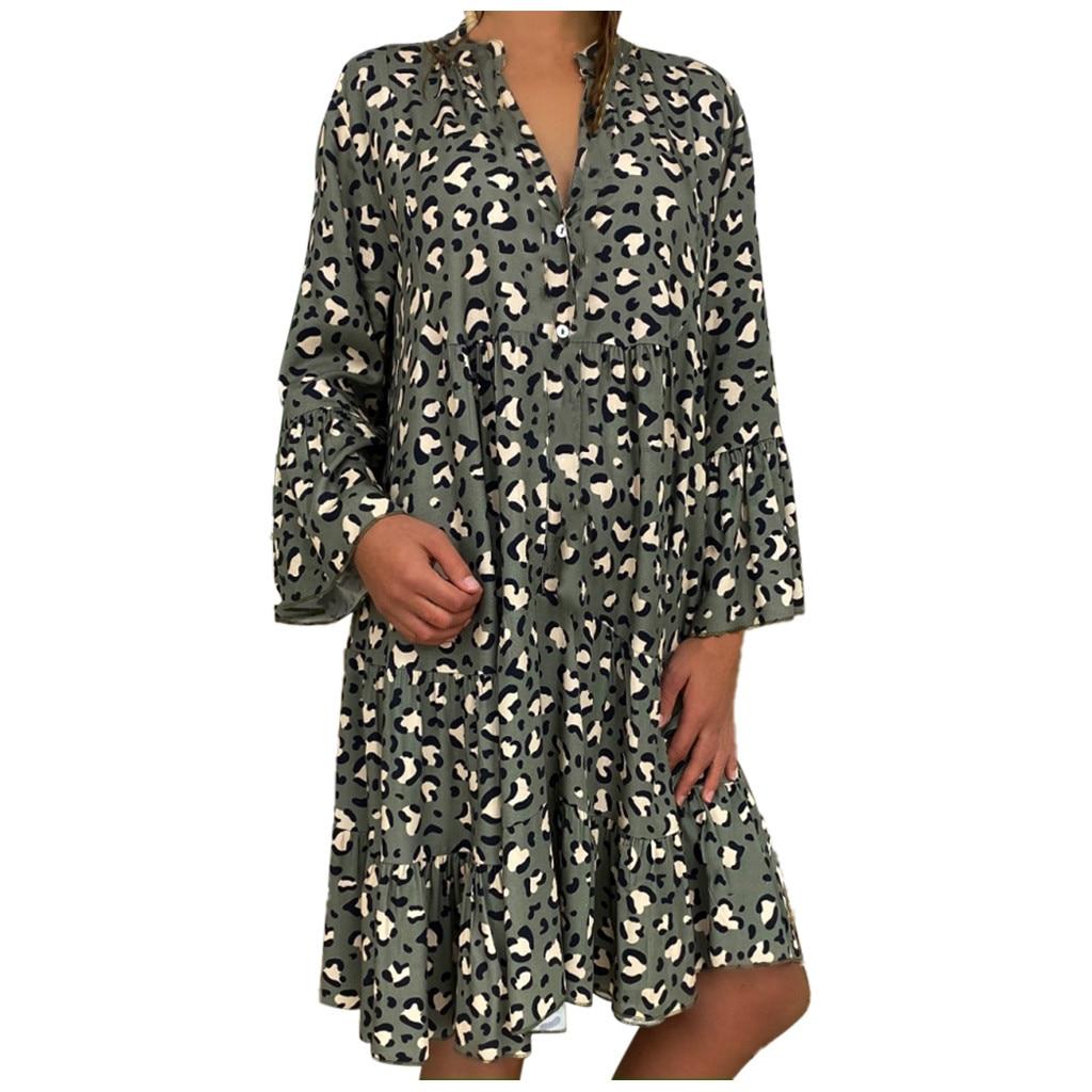 Women's Lady Ladies Plus Size Loose Print Long Sleeve V-Collar Button Mini Dress Female V Neck Oversize S-5XL