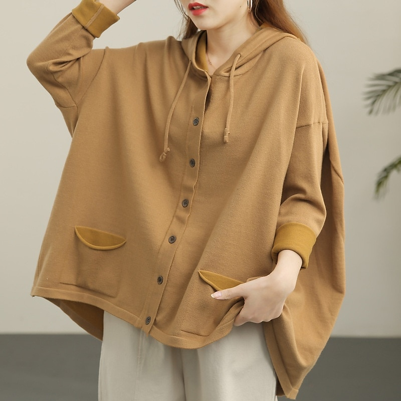 المرأة متماسكة الصلبة خمر معطف بقلنسوة واحدة الصدر فضفاض سترات غير رسمية 2021 الخريف سترة معطف كبير الحجم هوديس AA5886