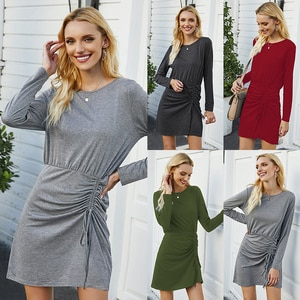 Spring Autumn Long Sleeve Dresses Women Casual Solid O-Neck Pullovers Bodycon Woman's Dress Female New Oversized Elegant Clothes