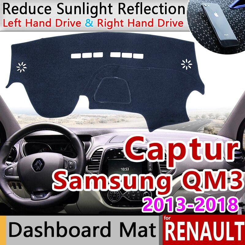 for Renault Captur 2013~2018 Samsung QM3 Anti-Slip Mat Dashboard Cover Pad Sunshade Dashmat Car Accessories 2014 2015 2016 2017