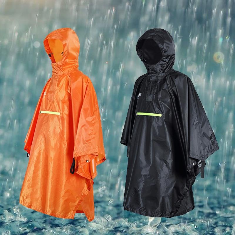 Impermeable lluvia poncho conducción al aire libre multi-función ciclismo bicicleta poncho 230T Titafo impermeable negro/naranja
