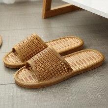 Home Indoor Linen Slippers Lower Skid Flip Flops For Men And Women Home Bedroom Interior Natural Bamboo Mat Rattan Cool Slippers
