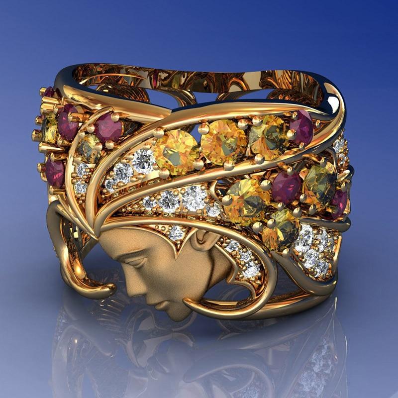 Mystic mystic herói rosto humano anel vintage punk multicolorido cristal viking biker anéis de casamento para mulheres masculinas jóias góticas