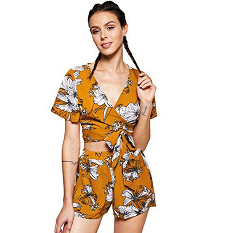 Fashion Women Boho Floral Sets 2Pcs Summer Sexy V Neck Short Sleeve Bandage T-Shirts+Loose Shorts Lady Holiday Casual Set Suit