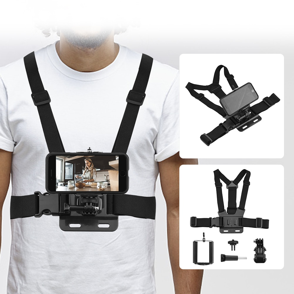 Universal Chest Strap Mobile Phone Belt Strap Mount 3-Piece Set for Smart Phone Vlogger Shooting Sports Action Cameras Accessory