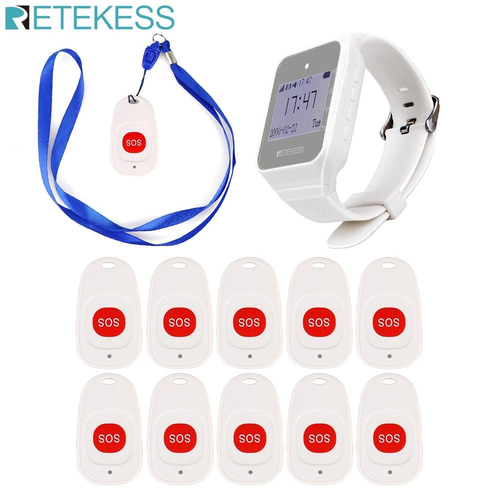 Retekess نظام اتصال لاسلكي TD108 ساعة استقبال 10 جرس نداء الطوارئ ممرضة زر الاتصال للمسنين