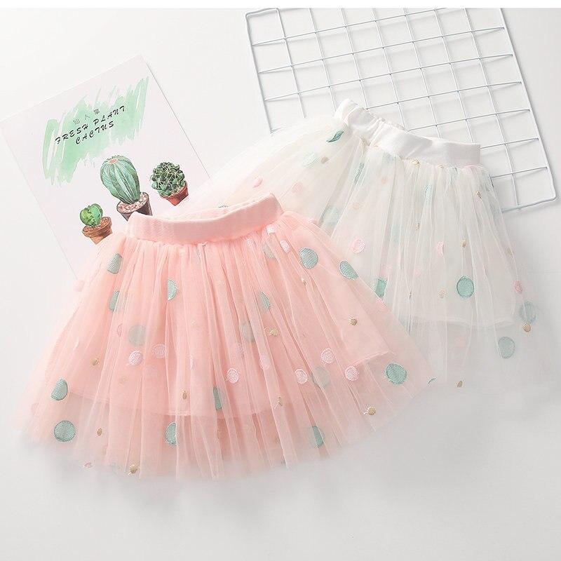 Falda de verano para niños con patrón bordado de puntos faldas elegantes Ropa para Niñas Ropa de baile para niños pequeños nueva falda