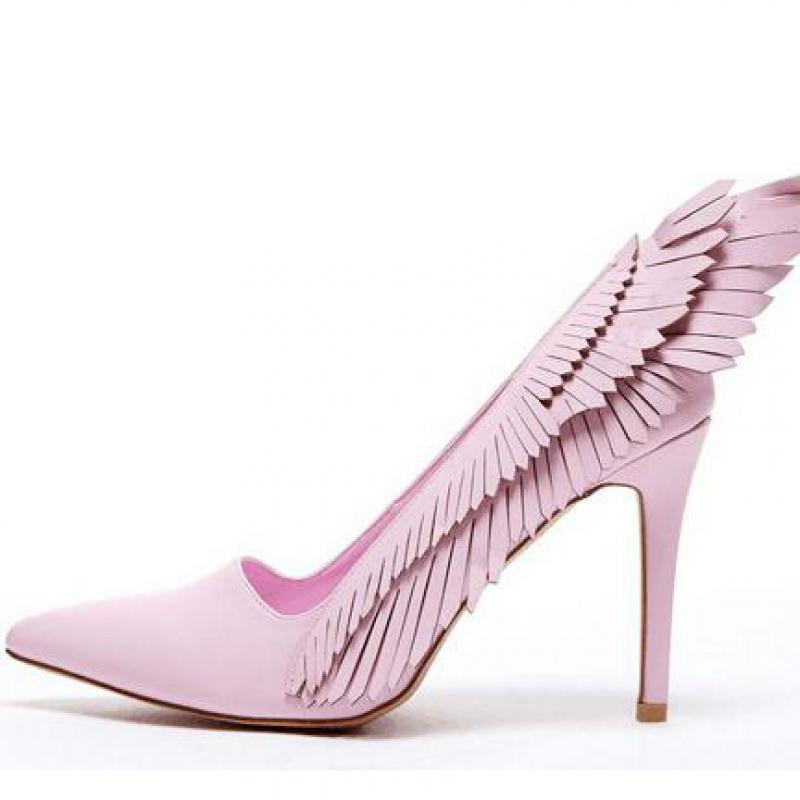 Pumps High Heels Pink Women's Shoes With Pointed Toes Angel Wings Thin Heels Lady Shoe Sweet Girl Pumps Summer Sandals Mujer