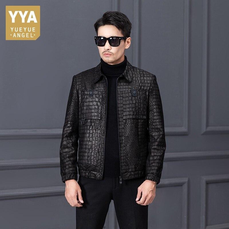 Genuine Business Casual Leather Jacket Men Designer Short Multi-pockets Prints Sheepskin Coat Zipper Loose Luxury Outerwear 5XL