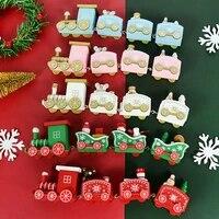 christmas wooden train merry christmas ornament 4 knots xmas mini wooden train with santa navidad new year decoration kids gifts