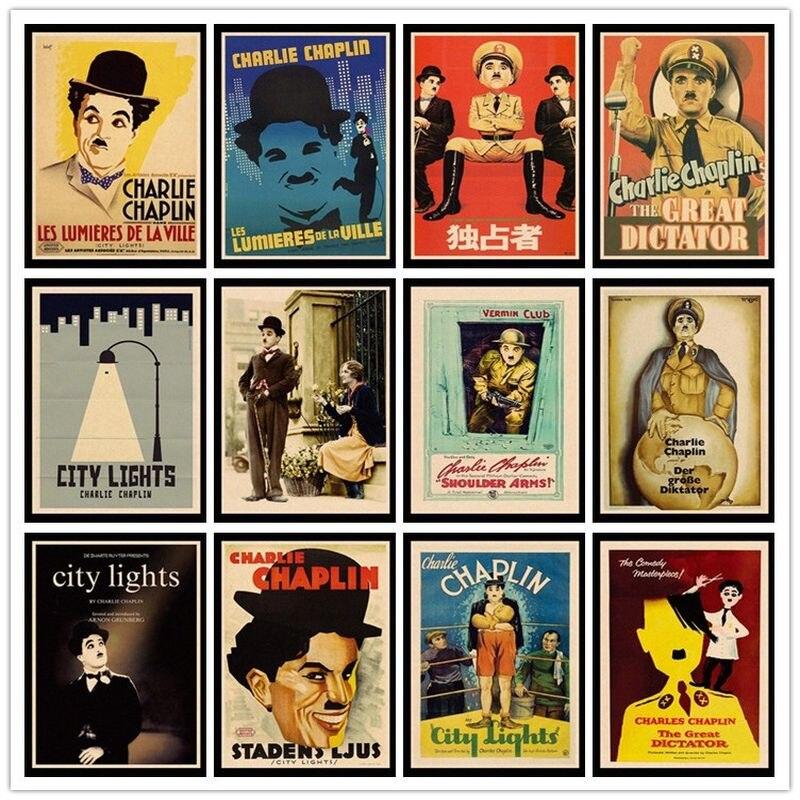 Perfect JL Charles Chaplin, luces de la ciudad, El Gran Dictador, carteles retro, papel kraft, pintura de alta calidad para HBA73