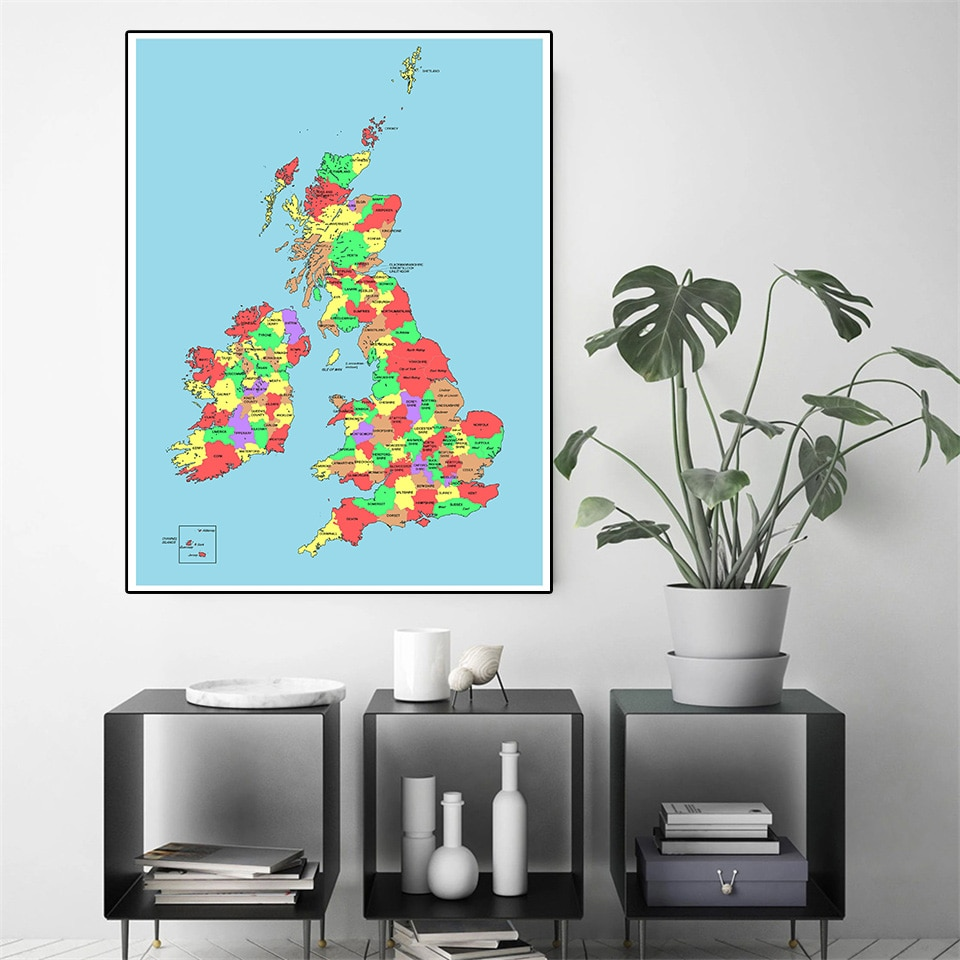 60*90 Political Map Of The United Kingdom Modern Wall Art Poster Canvas Painting School Supplies Living Room Home Decoration