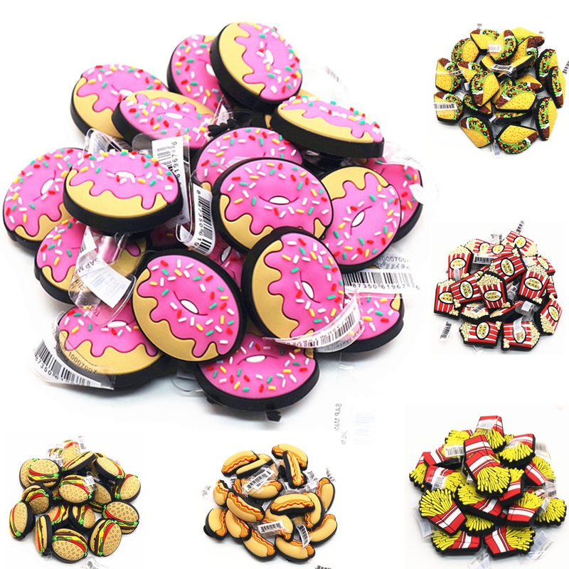Freeshipping Hamburg Popcorn Donuts Shoe Charms Decorations Novelty Chips PVC Shoes Accessories fit Croc JIBZ X-mas Kids Gifts