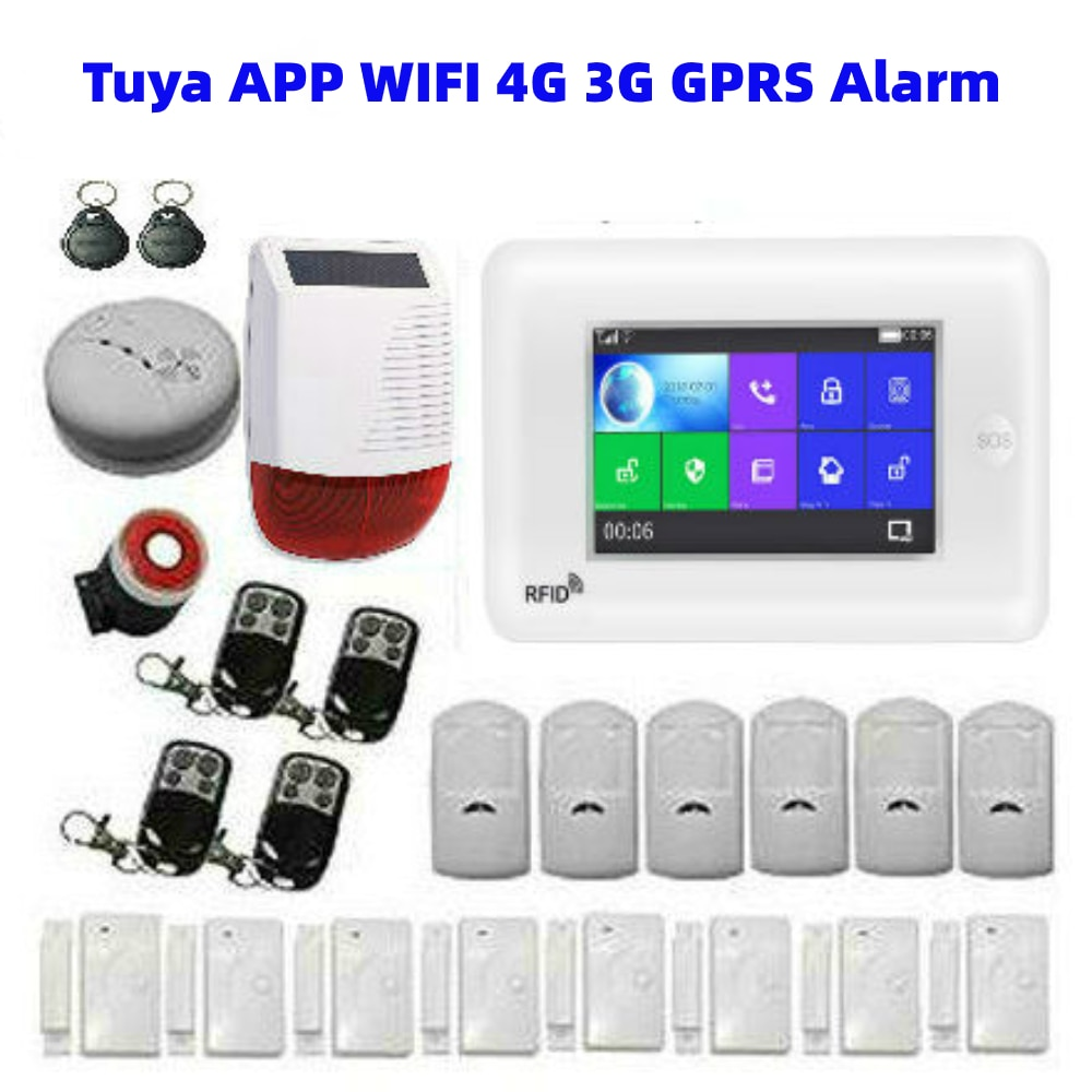Tuya App Control 3G 4G WiFi Alarm Host 433Mhz Wireless Home Security Burglar Alarm System with Outdoor Video Camera Solar Siren enlarge