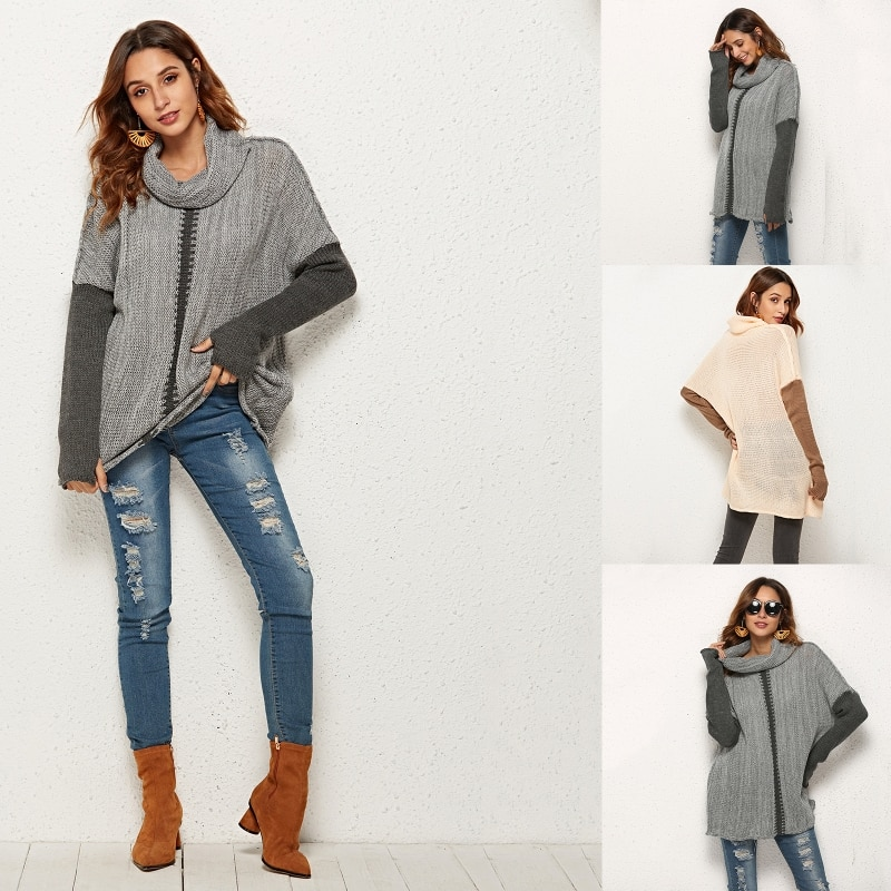 Women Long Sleeves Sweater Loose Knitted Pullover Jumper Casual Tunic Streetwear enlarge