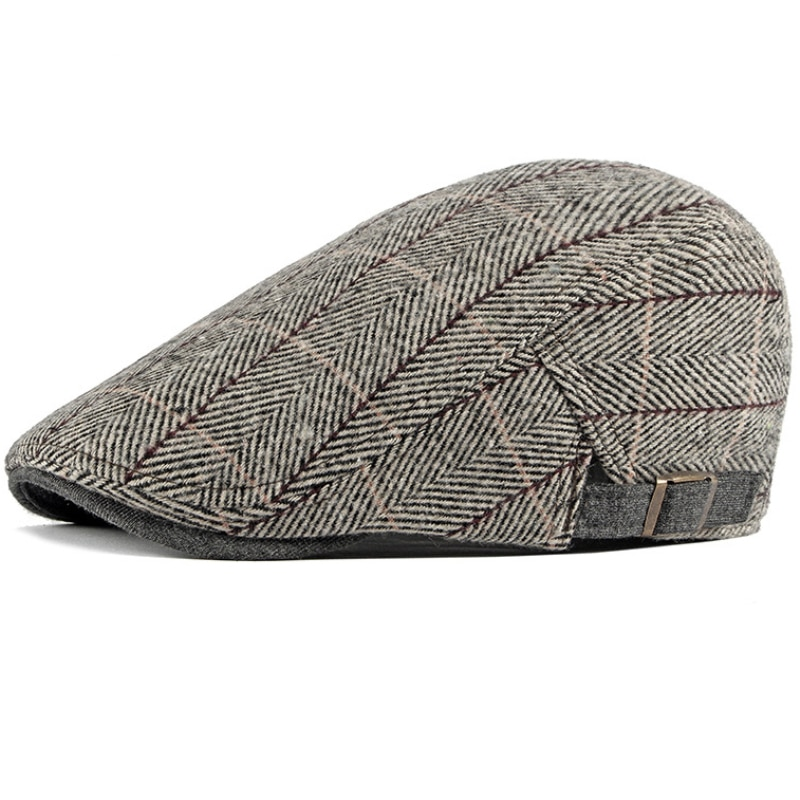 HT2742 берет Кепка винтажная клетчатая Женская Мужская шерстяная шапка Ретро