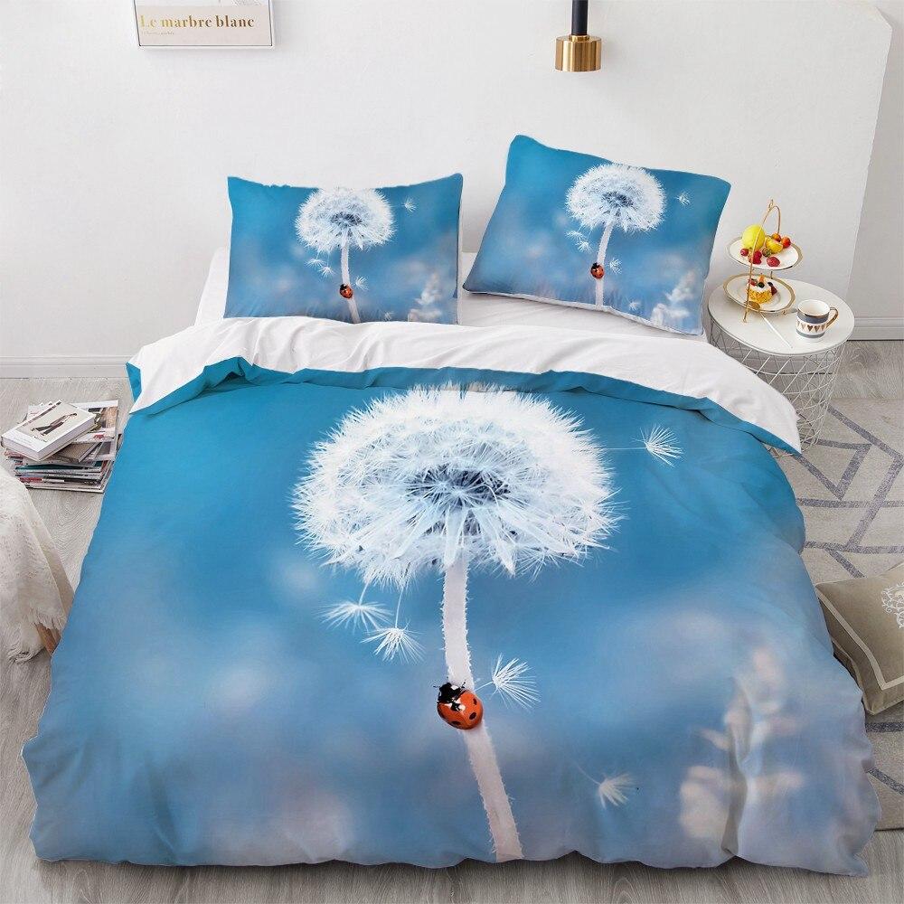 3D Bedding Set Custom Single Queen King Size 3PCS Duvet Cover Set Blanket/Quilt Pillow Case Dandelion Home Textile For Wedding