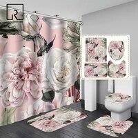 Rideau de douche imprime de grandes fleurs  ensemble de rideau de douche avec tapis antiderapant  decor de salle de bain impermeable avec crochets