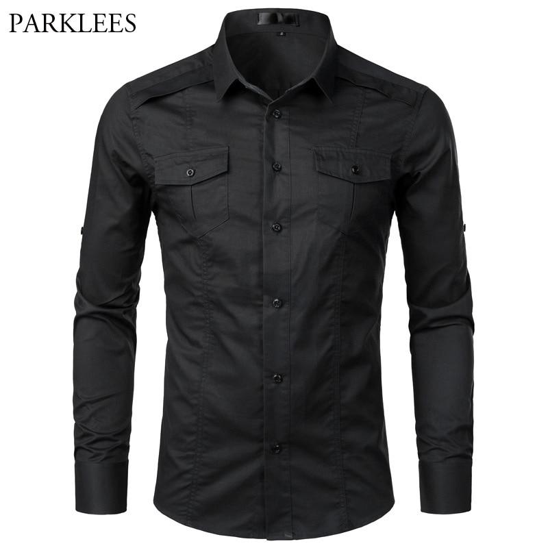 أسود البضائع قميص الرجال طويلة الأكمام العسكرية نمط التكتيكية العمل قمصان رجالي القطن عادية مريحة السفر قميص أوم Camisa