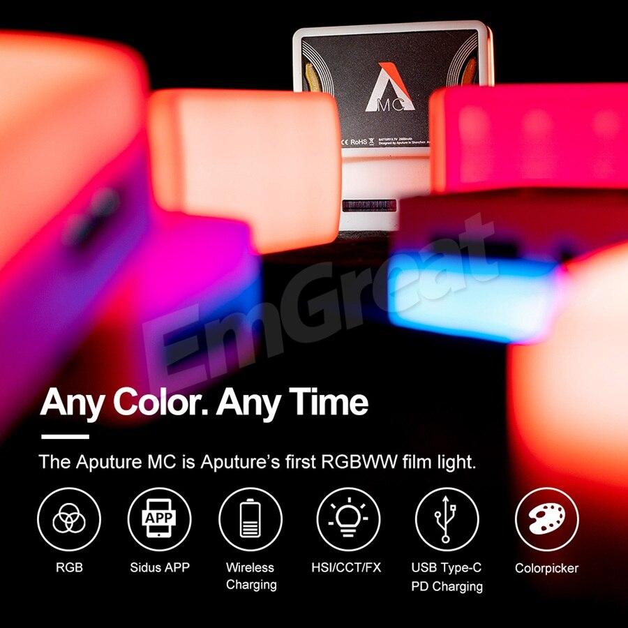 Aputure AL-MC 3200K-6500K Portable LED Light With HSI CCT FX Lighting Modes Video Photography Lighting AL MC Mini RGB Light