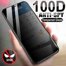 Vetro temperato Anti spia 100D per iPhone 13 12 mini 11 Pro XS Max X XR Privacy pellicola salvaschermo iPhone 7 8 6 6S Plus SE 2020 Glas
