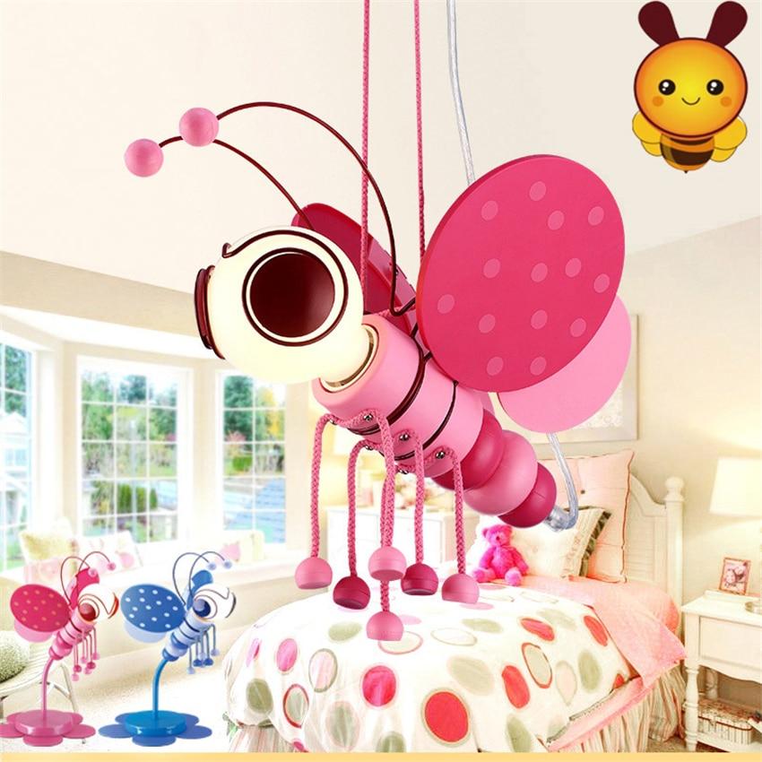 غرفة الأطفال النحل على شكل قلادة أضواء صبي فتاة مصباح غرفة النوم لعبة من الكارتون غرفة رياض الأطفال الديكور طفل استوديو قلادة مصباح