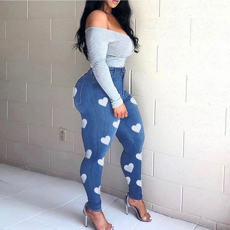 Heart Print Plus Size XL-5XL Jeans Slim Skinny Bodycon Denim Jean Pantalon Femme Pencil Pants Trousers Africa Women Streetwear