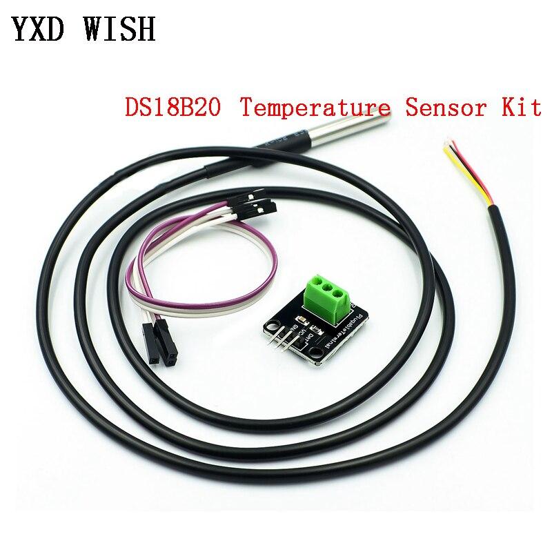 DS18B20 1M Temperatur Sensor Modul Kit Wasserdichte Digital Sensor Kabel Edelstahl Sonde Terminal Adapter Für Arduino