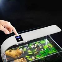 slim aquarium light led waterproof fish tank clip on lamp decoration plant lighting white blue light 220v temperature display 36