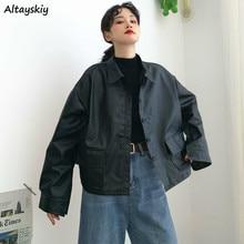 Vestes PU pour femmes, ample poches à boutons, coupe-vent, col rabattu, Style coréen, BF Ulzzang, 2020, loisirs, tendance