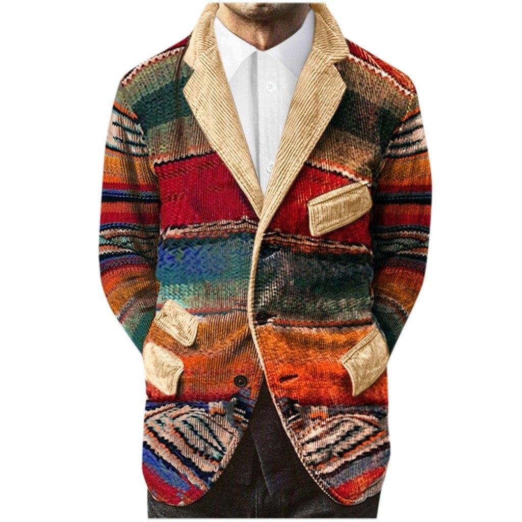 Hombres chaqueta nueva de moda traje de pana abrigo chaquetas Casual de negocios botón bolsillos Chaquetas Chaqueta masculino z1030