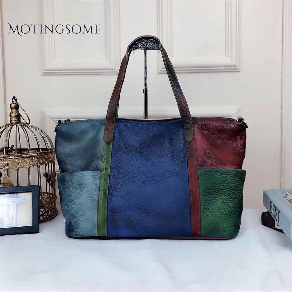 Vintage نمط جلد طبيعي حقيبة نسائية صغيرة حقيبة يد اليد المرقعة المتسوق حقيبة حقائب أنيقة حقائب السيدات الفاخرة 2019 جديد