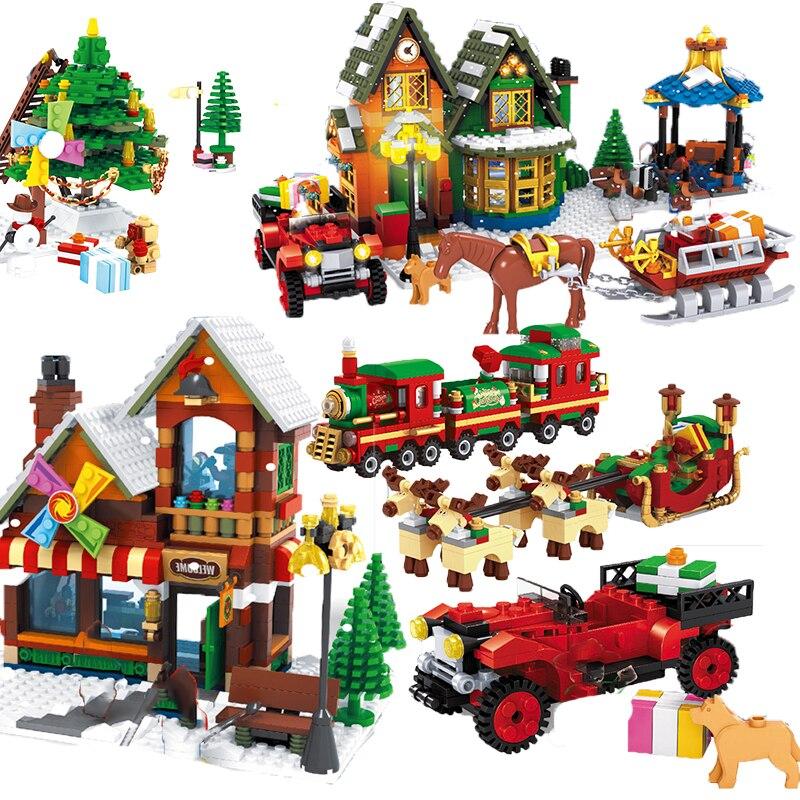 Рождественская серия Lepining зимняя деревенская сцена праздник городской поезд олень друзья строительные блоки Санта-Клаус Фигурки игрушки п...