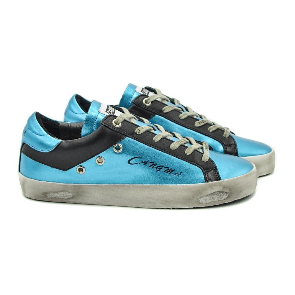 CANGMA الفاخرة العلامة التجارية مصمم حذاء كاجوال رجل باس الأزرق حقيقية أحذية رياضية من الجلد حذاء الذكور خمر