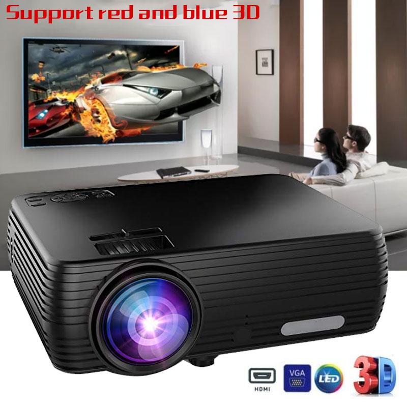 Led mini projetor completo hd 4 k usb tf hdmi media player cinema em casa lcd 169 suporte vermelho azul 3d casa teatro portátil
