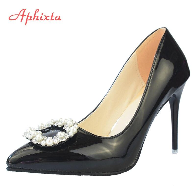 Aphixta sapatos femininos de salto alto, tamanhos grandes 33 a 48, 11.5cm stiletto, bomba de couro envernizado com pérolas, dedo do pé elegante bombas do escritório do partido
