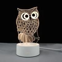 novelty 3d night lights mysterious owl meditation light lamp warm white led desk table toys for kids bedroom children gift