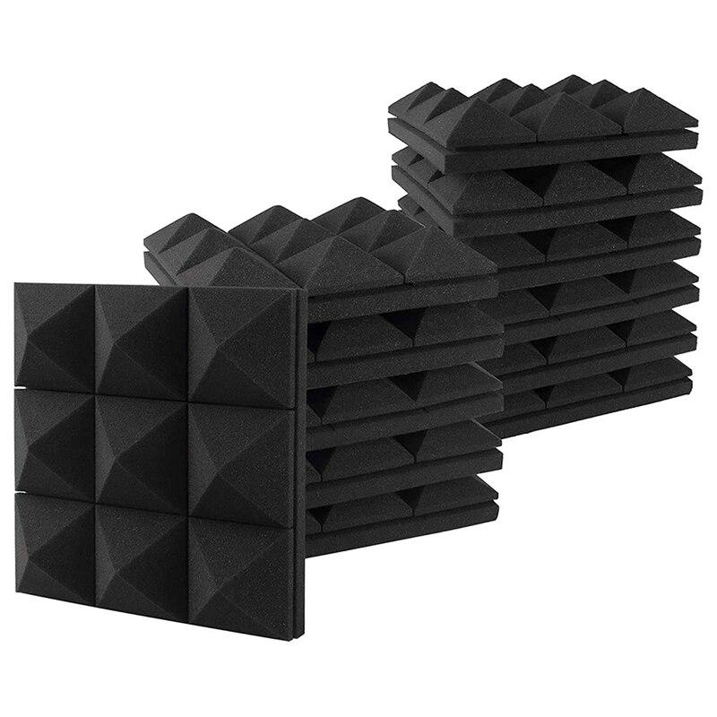 12 قطعة ألواح فوم صوتية ، استوديو إسفين البلاط ، رغوة الصوتية امتصاص الصوت ثلاثية الأبعاد الهرم استوديو تجهيز لوحات الحائط